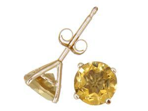 14K Yellow Gold Citrine Stud Earrings (1.80 CT &#59; 6 MM Round Cut)