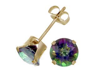 14K Yellow Gold Mystic Topaz Stud Earrings (1.80 CT &#59; 6 MM Round Cut)