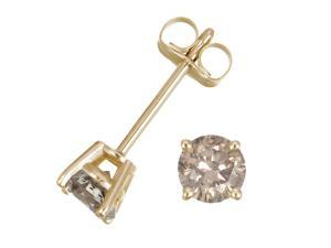 1/4 CT Champagne Diamond Stud Earrings 14k Yellow Gold