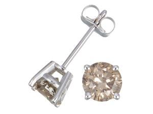 1 CT Champagne Diamond Stud Earrings 14k White Gold