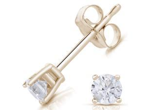 1/4ct Round Diamond Stud Earrings 14K, Yellow Gold