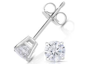 1/2 CT Diamond Stud Earrings 14k White Gold
