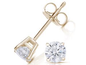 1/2 CT Diamond Stud Earrings 14k Yellow Gold