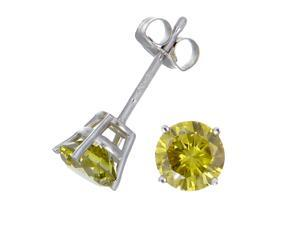 1/2 CT Yellow Diamond Stud Earrings 14k White Gold