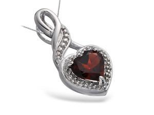 "FineDiamonds9 P18669GAR 1 CT Garnet Heart Pendant In Sterling Silver with 18"" Chain"