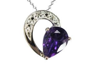 "Amethyst Pendant In Sterling Silver With 18"" Chain (1.50 CT)"