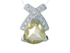 "FineDiamonds9 P5160LQ 2CT Trillion Cut Natural Lemon Quartz Pendant In Sterling Silver With 18"" Chain"