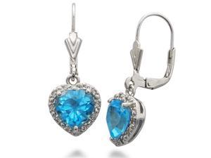 FineDiamonds9 E13120BT 4 CT Natural Blue Topaz Heart Shape Leverback Earrings In Sterling Silver