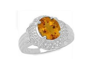 10x8MM 2.40 CT Citrine Ring In Sterling Silver In Size 8 (Available in Sizes 6 - 9)