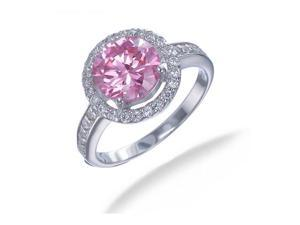Sterling Silver Pink and White CZ Ring In Size 6