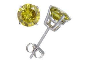 1/4 CT Yellow Diamond Stud Earrings 14k White Gold