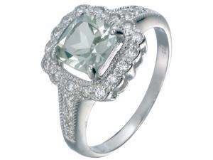 Sterling Silver Green Amethyst Ring (1.10 CT) In Size 5