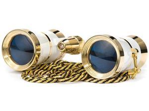 3x25 Blueline Opera Glasses w/ Gold Trim Necklace and Reading Light