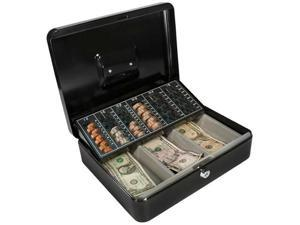 12 Inch Cash Box and 6 Compartment Coin Tray with Key Lock