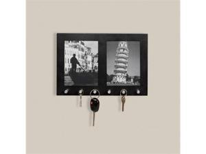 Two Section 3 Inch x 5 Inch Picture Frame with 6 Position Key Holders