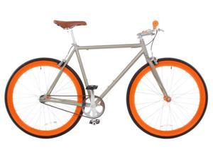 Vilano Rampage Fixed Gear Bike Fixie Single Speed Road Bike Matte Grey / Orange Medium 54cm
