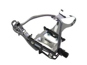 Wellgo Track Fixie Bike Pedals w/ Toe Clips and Leather Strap Black