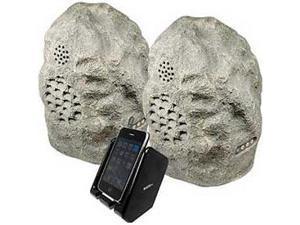 Audio Unlimited SPK-ROCK-DUO2 Wireless Weather Resistant Rock Speaker System, Gr