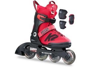 K2 2017 Kid's Raider Pro Inline Skates & Pads Pack - Red - I170200501 (Red - 11-2)