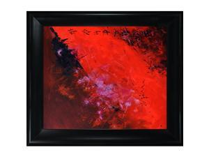 "Abstract 884512 with Black Satin King Frame - Eco Friendly - 27"" X 31"" - Hand Painted Framed Canvas Art"