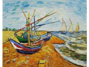 Van Gogh Paintings: Boats at St. Marie's - Hand Painted Canvas Art
