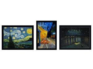 Van Gogh Paintings: Starry Night Trilogy Pre-Framed (large) - Hand Painted Canvas Art