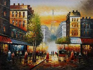 Famous Cities: Evening View Of The Eiffel Tower - Hand Painted Canvas Art