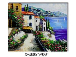 Mediterranean Scenes: Harmony Cove - Hand Painted Canvas Art