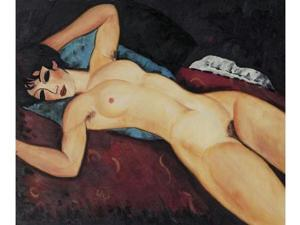Modigliani Paintings: Nudo Disteso - Hand Painted Canvas Art