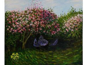 Monet Paintings: Resting Under the Lilacs - Hand Painted Canvas Art
