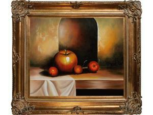 Still Life: Apples On A Sideboard with Renaissance Bronze Frame - Bronze Finish - Hand Painted Framed Canvas Art