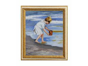 Other Great Artists: Brighton Beach with Tuscan Crackle Frame - Gold Finished Wood with White Crackle Accent - Hand Painted ...