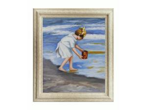 Other Great Artists: Brighton Beach with Tuscan Ivory Frame - Lightly Marbled White Wood - Hand Painted Framed Canvas Art