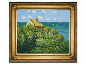 Monet Paintings: Fishermans Cottage At Varengeville with Regency Gold Frame - Gold Finish - Hand Painted Framed Canvas Art