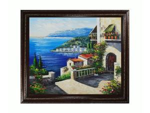 Mediterranean Scenes: High Rise Bay with Heritage Wood Frame - Cherry Finish/Gold Trim - Hand Painted Framed Canvas Art