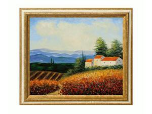 Mediterranean Scenes: House in the Country with Tuscan Crackle Frame - Gold Finished Wood with White Crackle Accent - Hand ...