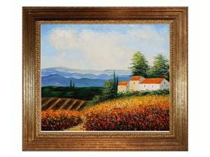 Mediterranean Scenes: House in the Country with Vienna Wood Frame - Gold Leaf Finish - Hand Painted Framed Canvas Art