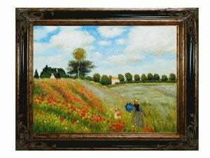 Monet Paintings: Poppy Field in Argenteuil with Excalibur Gold and Glossy Black Frame - Hand Painted Framed Canvas Art