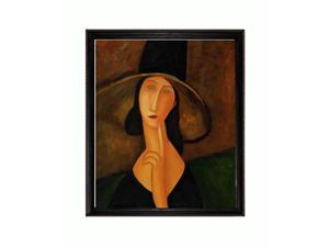 Modigliani Paintings: Portrait of Woman in Hat with La Scala Frame - Black and Gold Finish - Hand Painted Framed Canvas Art
