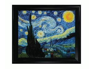 Van Gogh Paintings: Starry Night with Black Satin King Frame - Eco Friendly - Hand Painted Framed Canvas Art