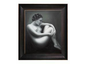 Nude Figures: Woman in Repose with Veine D' Or Bronze Scoop - Bronze and Rich Brown Finish - Hand Painted Framed Canvas Art