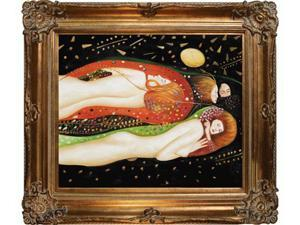 Klimt Paintings: Water Serpents II with Renaissance Bronze Frame - Bronze Finish - Hand Painted Framed Canvas Art