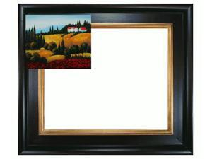 Mediterranean Scenes: Private Villa II with Vintage Creed Frame - Distressed Rich Black Stained Wood with Gold Liner - Hand ...