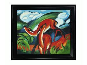 The Red Deer with Black Satin King Frame - Eco Friendly - Hand Painted Framed Canvas Art