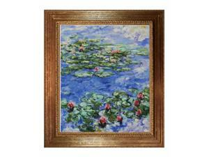 Monet Paintings: Water Lilies with Vienna Wood Frame - Gold Leaf Finish - Hand Painted Framed Canvas Art