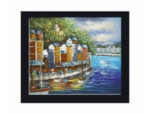 Mediterranean Scenes: Reflections of the Market with New Age Wood Frame - Black Finish - Hand Painted Framed Canvas Art