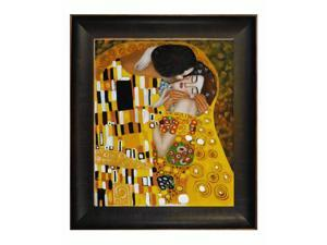 Klimt Paintings: The Kiss with Veine D' Or Bronze Scoop - Bronze and Rich Brown Finish - Hand Painted Framed Canvas Art