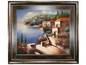 Mediterranean Scenes: Vacation Harbor with Natural Creed Frame - Deep Natural Stained Wood - Hand Painted Framed Canvas Art