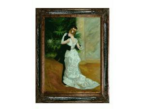 Renoir Paintings: Dance in the City with Excalibur Gold and Glossy Black Frame - Hand Painted Framed Canvas Art