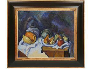 Cezanne Paintings: Still Life with Melons and Apples with Opulent Frame - Dark Stained Wood with Gold Trim - Hand Painted ...